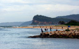 Folket fiskar på stranden Royaltyfria Bilder
