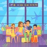 Folket går att semestra Sitta i flygplatsterminal Lyckliga familjpar med ungar och bagage också vektor för coreldrawillustration stock illustrationer