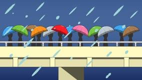 Folket går, medan regna Fotografering för Bildbyråer