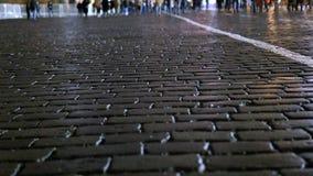 Folket går ner gatan i aftonen Timelapse stock video