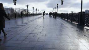 Folket går på bron, i eftermiddagen Timelapse stock video