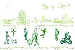 Folket går på en vårstad Vektor Illustrationer
