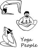 Folket gör fastställda ofÂillustrationerför yoga Arkivbilder