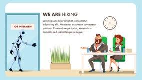 Folket gör jobbintervjun för manlig robotanställd stock illustrationer