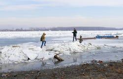 Folket går på det djupfrysta Danubet River Arkivfoto