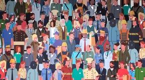 Folket grupperar den olika ockupationuppsättningen, baner för arbetare för anställdblandninglopp stock illustrationer