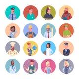 Folket grupperar samlingen för yrket för arbetare för olika ockupationsymboler den fastställda royaltyfri illustrationer