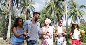 Folket grupperar talande kommunikation går utomhus till och med palmträd, lycklig le blandningloppman och kvinnavänner