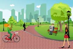 Folket i en stad parkerar vektor illustrationer