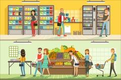 Folket i supermarkethorisontalfärgrika baner ställde in, kunder som shoppar och köper produkter vektor illustrationer