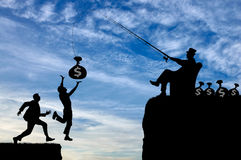Folket jagar pengar som faller in i avgrunden royaltyfri bild