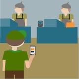 Folket kan beställa gods från mobil Arkivfoto