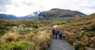Folket kan sedd trekking längs banan till den Tongariro nationalparken, Nya Zeeland Royaltyfri Fotografi
