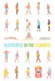 Folket kopplar av och solbadar på stranden royaltyfri illustrationer