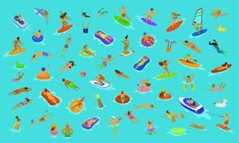 Folket man, och kvinnan, flickor och pojkar som simmar i flötemadrassen som dyker in i havet, bevattnar, pölen eller havet Sc för royaltyfri illustrationer