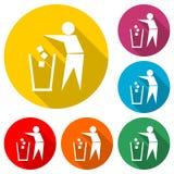 Folket med avfalltecknet, skräpar ner inte symbolen eller logoen, färguppsättning med lång skugga vektor illustrationer