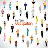 Folket med olik ockupation samlar tillsammans Arkivfoton