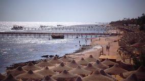 Folket på ferie tycker om luften och havsbrisen lager videofilmer