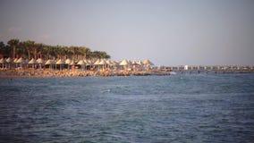 Folket på ferie tycker om luften och havsbrisen arkivfilmer