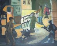 Folket på gatorna som är olika poserar, illustrationen Arkivfoton