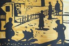 Folket på gatorna som är olika poserar, illustrationen Arkivfoto