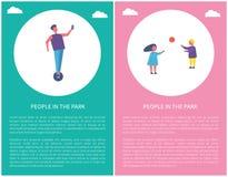 Folket parkerar in affischungar spelar bollmannen på Segway stock illustrationer