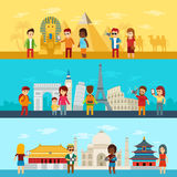 Folket reser runt om världen, turister som ser och tar en bild av sikt i berömda världsgränsmärkesymboler Egypten stock illustrationer