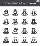 Folket sänker symboler. Ockupationer och roller Arkivfoto