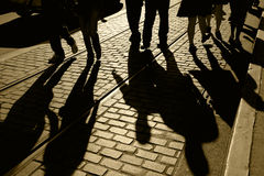 folket shadows silhouettes Arkivbild