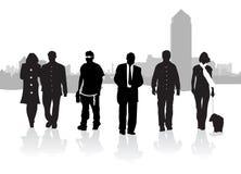 folket silhouette att gå Arkivfoton