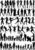 folket silhouettes ämnet Royaltyfria Bilder