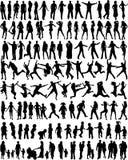 folket silhouettes ämnet Royaltyfri Bild