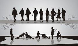 folket silhouettes ungdommen Arkivbild