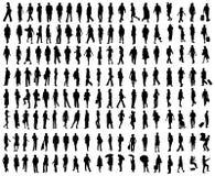 folket silhouettes vektorn Royaltyfria Bilder