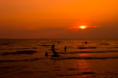 Folket simmar i havet som kopplar av Royaltyfria Bilder