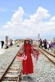 Folket ska gå till 55 ställen i deras sjö för chakaen för life:Qinghaien salta Arkivfoto