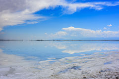 Folket ska gå till 55 ställen i deras sjö för chakaen för life:Qinghaien salta Royaltyfri Bild