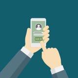 Folket som rymmer Smartphone och, undertecknar in till Appen Royaltyfria Foton