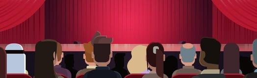 Folket som sitter på teatern eller i bion som ser etappen med röda gardiner som väntar på kapacitet, startar tillbaka bakre sikt stock illustrationer