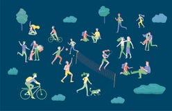 Folket som spenderar Tid som kopplar av p? naturen, familjen och barn som utf?r utomhus- aktiviteter f?r sportar p?, parkerar och vektor illustrationer