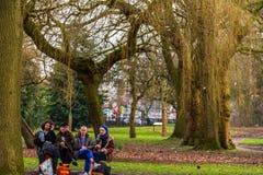 Folket som tar en picknick på Whitworth, parkerar i Manchester in tidigt arkivfoto