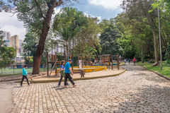 Folket som tycker om Aclimacaoen, parkerar i Sao Paulo Arkivbilder