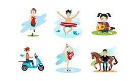 Folket som tycker om olika hobbyer, ställde in, mannen och kvinnan som gör sportar och att spela gitarren som rider på mopedvekto vektor illustrationer