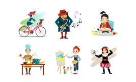 Folket som tycker om olika hobbyer, ställer in, man- och kvinnaridningcykeln som spelar saxofonen, läseboken, matlagning, målning stock illustrationer