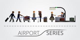 Folket står i en kö för flygregistreringsskrivbordet Arkivfoto