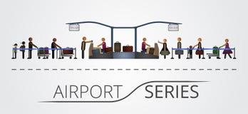 Folket står i en kö för flygregistreringsskrivbordet Royaltyfria Bilder