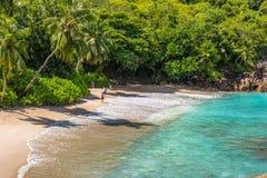 Folket tycker om Anse den viktiga stranden, Seychellerna, Indiska oceanen, Eas Royaltyfri Fotografi