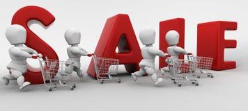 folkförsäljningsshopping stock illustrationer