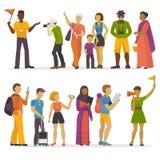 Folkfamiljresande på illustration för vektor för par för resa för tur för semesterhandelsresandetecken lycklig stock illustrationer