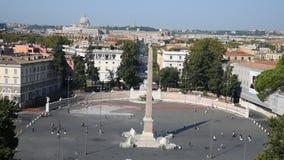 Folkfyrkant och lejonfyrkant i Rome arkivfilmer
